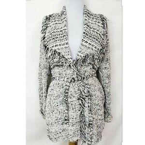 🔥Lucky Brand Black White Fringe Cardigan Sweater